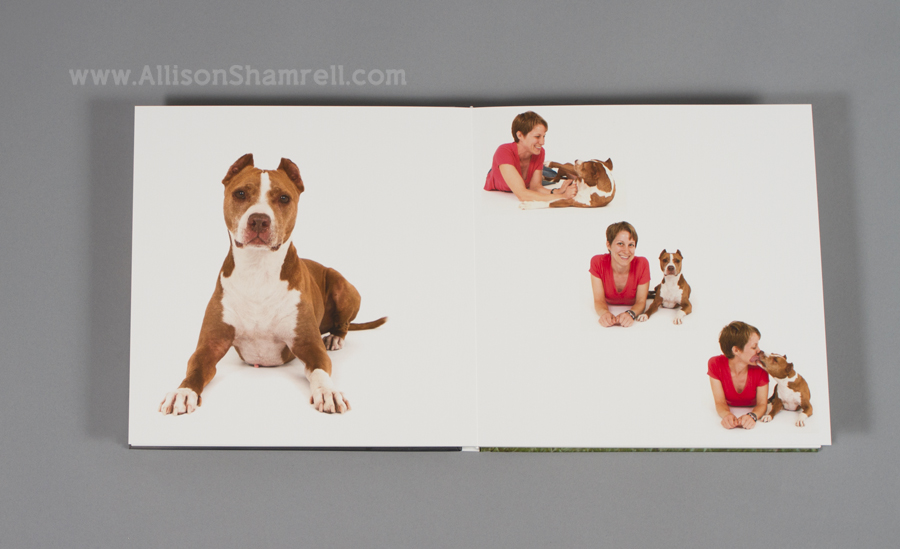 A sample copy of a premium photo-cover album featuring custom pet photography by Allison Shamrell.