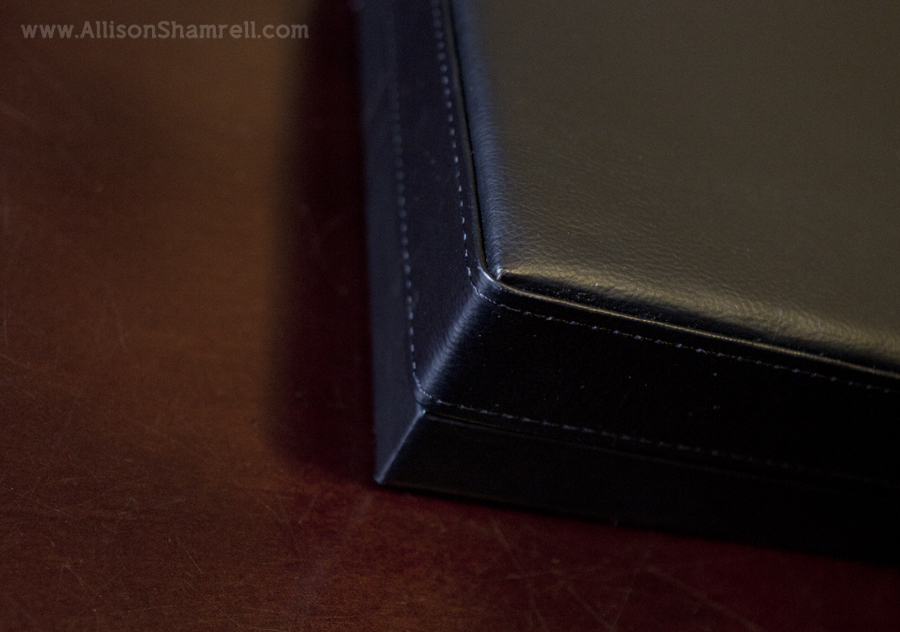 A photo of the leather carrying case of a premium dog photography album featuring two black miniature poodles.