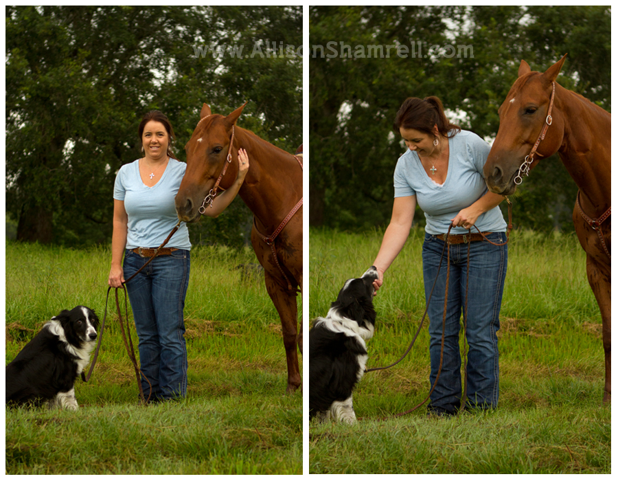 A woman stands with a horse and a border collie dog.