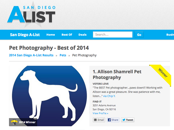 best pet photographer in san diego